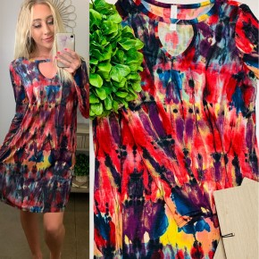 Honeyme- Long sleeve short flowy dress