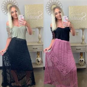 Crochet lace detailed skirt