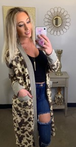 Ces Femme- Long sleeve cow hide print cardigan