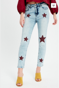 Listicle - Stretch denim crop pants with star quilting