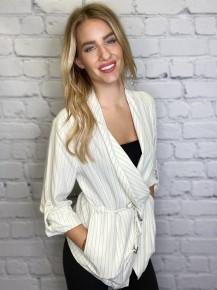 Promesa - Pinstripe shawl collar drawstring roll tab blazer