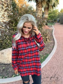 Jodifl-Flannel collared top with lace up detail ,distressed hemline and roll up sleeves