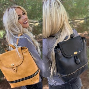 Bag Boutique- Studded drawstring fashion backpack with faux leather