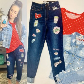 High rise skinny jeans with patch detail on both legs