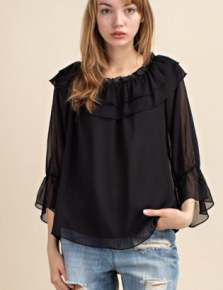 Black chiffon tiered ruffle off the shoulder top