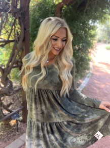 Honeyme - Long sleeve dress with round neck
