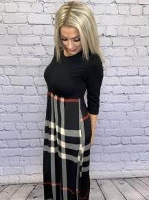 Heimish- 3/4 sleeve plaid maxi dress