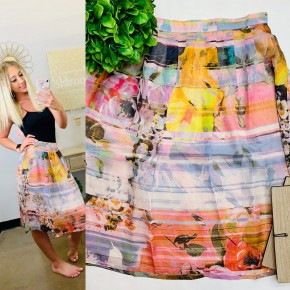 Dye printed multi color skirt with zipper