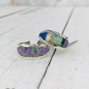 5 OPAL STONE BAND IN STERLING SILVER