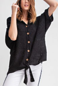 Black front tie button down hooded knit cardigan