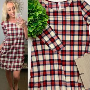 Honeyme- 3/4 sleeve plaid dress