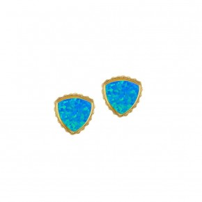 Sterling Silver Trillion Earrings In Pacific Opal In Gold or Silver