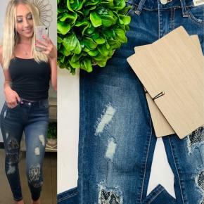 Judy Blue - Snake python patch skinny jeans