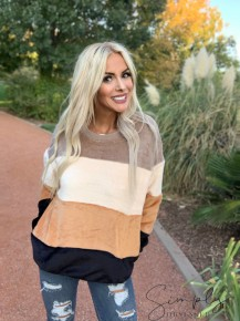 Entro- Long sleeve striped color block sweater
