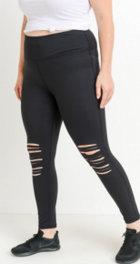 Mono B - size black leggings with laser cut knee holes