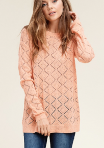 Peach solid knit top