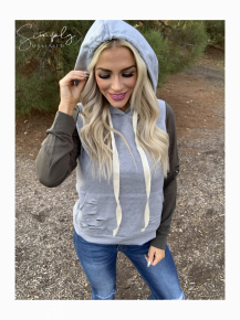 White Birch- Long sleeve color block knit hoodie with distressed cut detail and front pocket