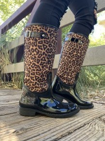 Qupid- Knee high leopard print rain boots