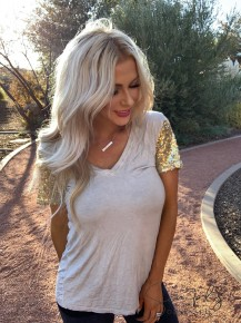 POL- Sequin sleeve knit top featuring low v neck and clean hem