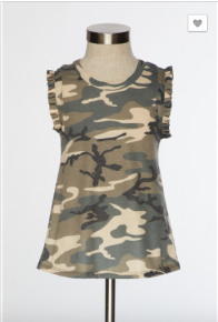 12 pm - Kids camo print sleeveless top with a rounded neck