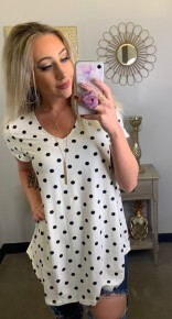 Honeyme- short sleeve polka dot top with v neck
