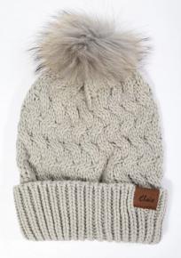 Light grey hand knit beanie with removable fur pom pom