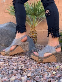 Corky's- distressed wedge heels