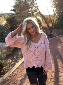 POL- Drop down leaf chenille sweater with falling leaf knitted design