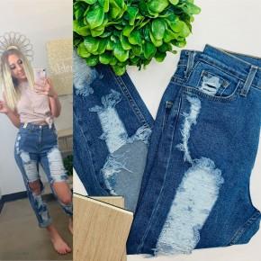 Vibrant - Shredded high-rise boyfriend jeans