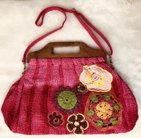 Fuschia net wood handle tie dye crochet flower