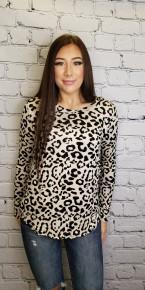 White Birch - Cheeta Print Knit Top