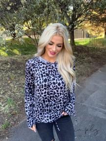Eesome- Leopard print long sleeve hoodie top