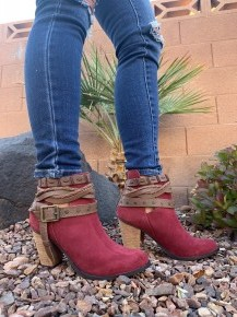 Naughty Monkey- Cuthbert suede leather booties with straps