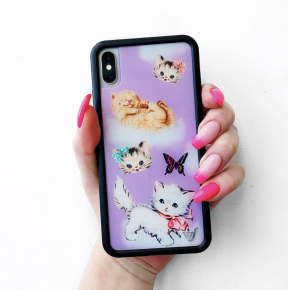 Influencer Favorite - Wildflower Purple kittens iphone case