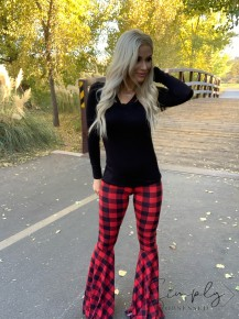 Southern Grace Apparel - Buffalo plaid flare pants