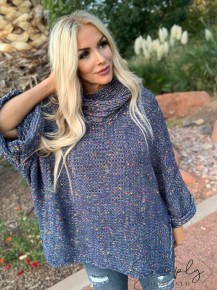 POL- Slouched oversized turtle neck confetti sweater (100% polyester)