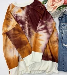 Honeyme- Long sleeve slouched shoulder tie dye top with hi-low hem
