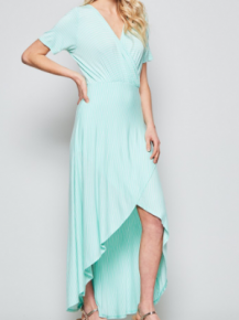 Wrap around body with high low skirt, elastic on the waistline with short sleeves
