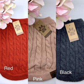 C.C - Solid rib knitted pet sweater