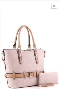 Alyssa - Two tone belted 2 way tote wallet set
