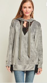 Solid velvet hoodie top w/ black lace v-neck detail and keyhole