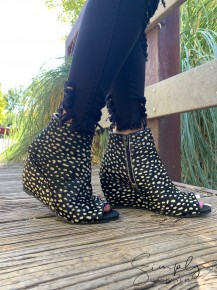 "Naughty Monkey- ""KUDA"" heeled open toe bootie with speckled hide"