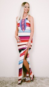 Multi color striped dress with criss cross open back and slit on sides