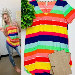 Multi striped short sleeve top with v-neck
