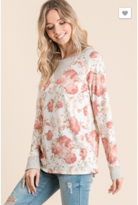 Vanilla Bay - Floral print knit top featuring long sleeve with contrast band and doritos stitch detail