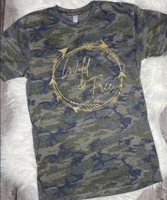 PRE-ORDER CAMO GlitterWild & Free Top - All Sizes You MUST AUTHORIZE to get one!