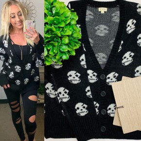 POL - Long sleeve open sweater cardigan featuring skull contrast