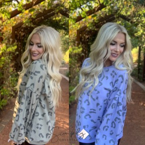Easel- Long sleeve animal printed terry knit top