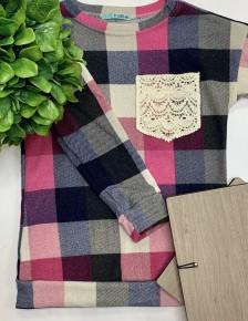 P.s Kate - Multi color checker trim pocket pullover KIDS