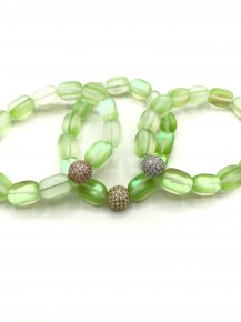 Green Moonstone Bracelet with Pave Spacer